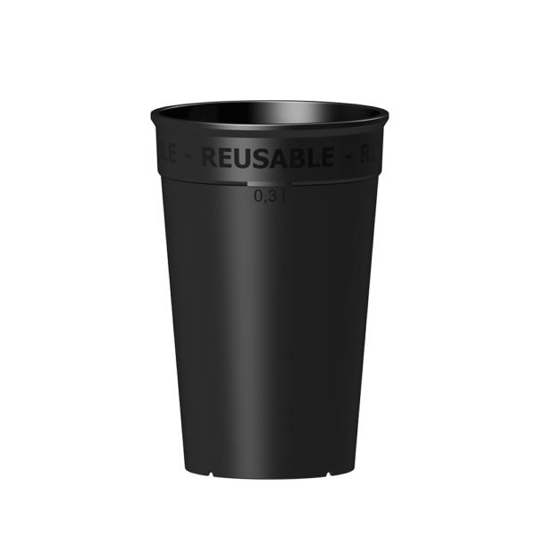 Wiederverwendbarer Coffee to go Becher 300 ml in schwarz