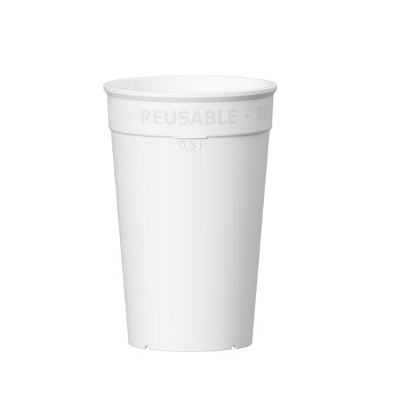 Wiederverwendbarer Coffee to go Becher 300 ml in weiß